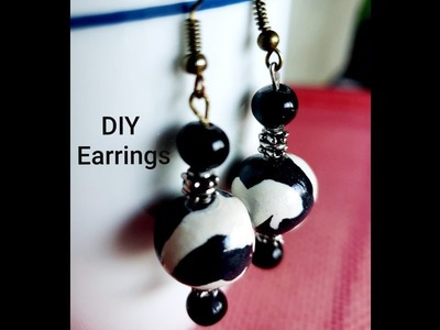 Polymer Clay Marble Bead Dangle Earrings   Quick and Easy Method