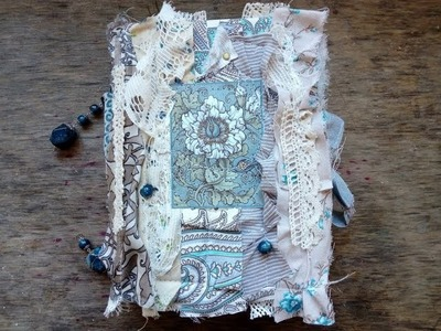 "(SOLD) Blue Boho Junk Journal ""Boho Fairy"" Scrapbook Memory Book Keepsake Notebook"