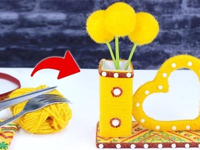 কার্ডবোর্ড ও উলের সুতা দিয়ে ফুলদানী তৈরি শিখুন ! DIY flower vase From Cardboard