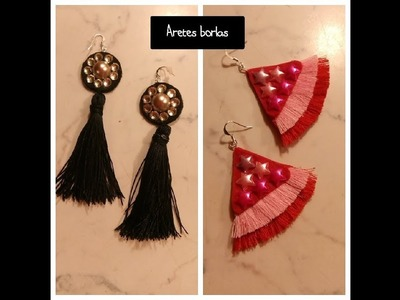 2 tipos de aretes BORLAS.Aretes.pendientes de hilo.Tassel earrings.Como hacer.How to make.DIY