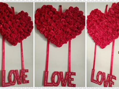 Attractive & very easy Rose Heart Wall Hanging 2019. valentine's day decor.paper craft idea. DIY