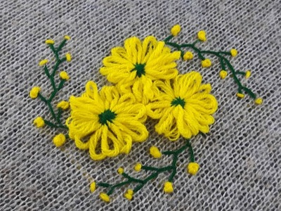 Hand Embroidery,Beautiful  flower design of Sweater by wool stitch