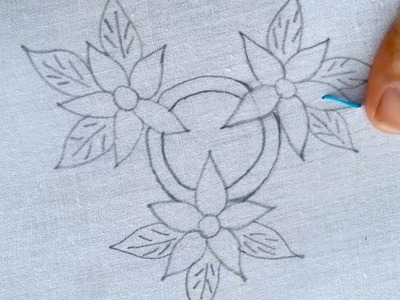 Hand embroidery cushion cover design  with fly stitch.