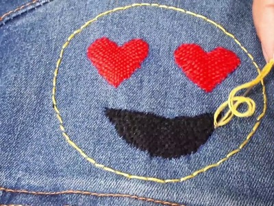 HAND EMBROIDERY - HEART.LOVE EYES EMOJI