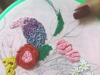 Hand embroidery leaves: Bullion stitch