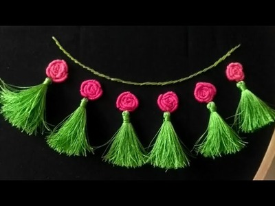 Hand embroidery neck design | bullion knot flower design with tassels | beautiful neckdesign