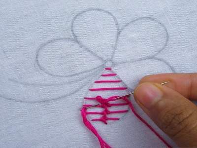 Hand Embroidery, Raised Chain Stitch flower
