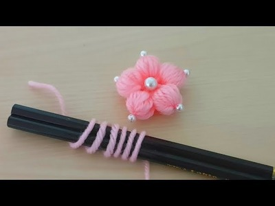 How to Make Beautiful Flower Hand Embroidery - Amazing Trick - Sewing Hack - Wool Design - Woolen