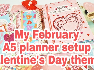 My February A5 planner setup Valentine's Day theme | 2019 | Planning With Eli