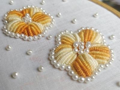 Padded Bullion Knot Stitch (Hand Embroidery Work)