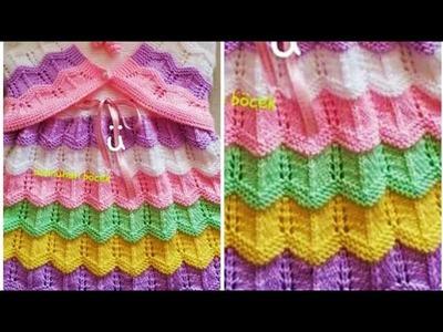 डिजाइनर फ्रॉक बनाये बची हुई ऊन से.Simple Colourful Jali Frock For Girls:Design-218