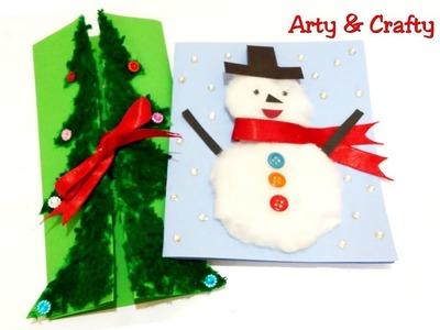 2 DIY Christmas Cards for Kids.Handmade Christmas Greeting Card.Paper Christmas Tree