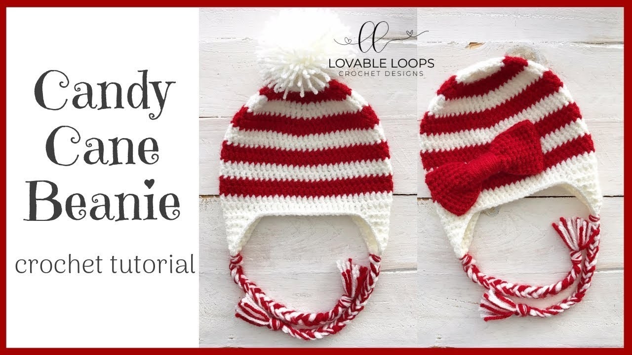 Candy Cane Beanie Hat Crochet Pattern Tutorial | Crochet Bow Pattern Tutorial