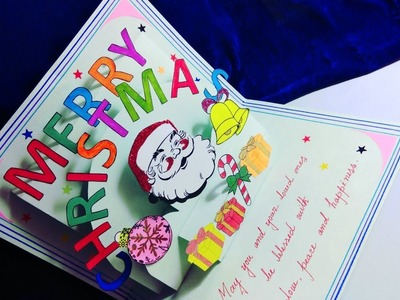 Christmas greeting card. Diy Christmas greeting card making ideas. Christmas pop up card