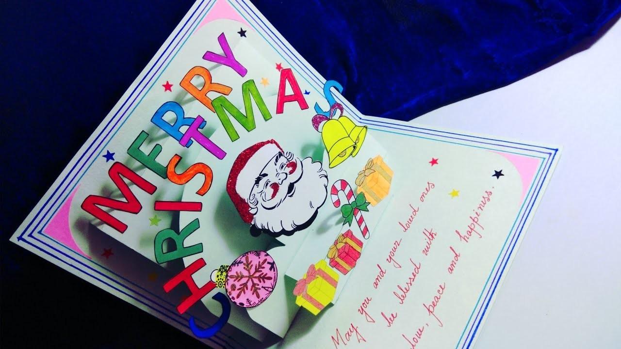 Christmas greeting card. Diy Christmas greeting card making ideas. Christmas pop up card