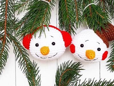 Christmas ornament crochet snowman pattern