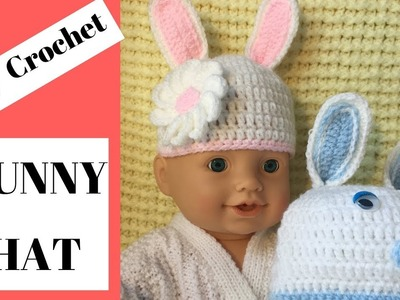 Crochet bunny hat.easy step by step bunny hat.Easter hat.Baby hat