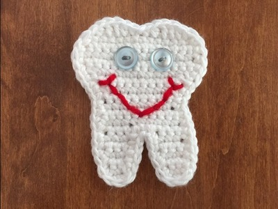 Crochet Tooth  Appliqué for Coffee Cozy!