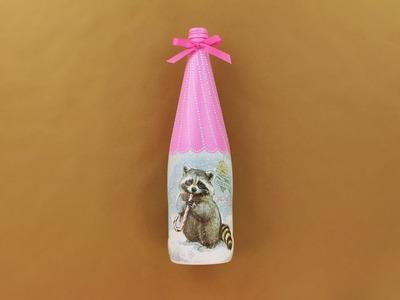 Decoupage bottle - Decoupage tutorial - christmas bottle decoupage - Painted bottle - DIY
