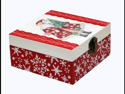 Decoupage Christmas box-DIY