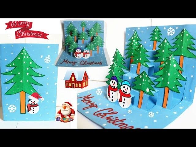 DIY 3D Christmas Pop Up Card  How to make Christmas Greeting Card  Easy Christmas pop up card