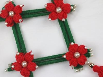 DIY arts and crafts || How to Make Door Hanging Toran Using Newspaper & Woolen - Woolen Craft Idea