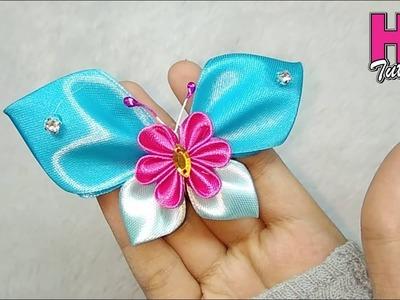 DIY - Bros KUpu-kupu Terbaru || Butterfly || how to make satin ribbon flower || HD TUTORIAL