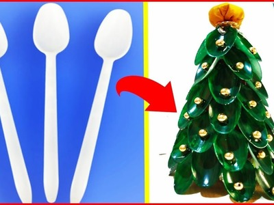 DIY Christmas Tree With Disposable Spoons at Home Easily