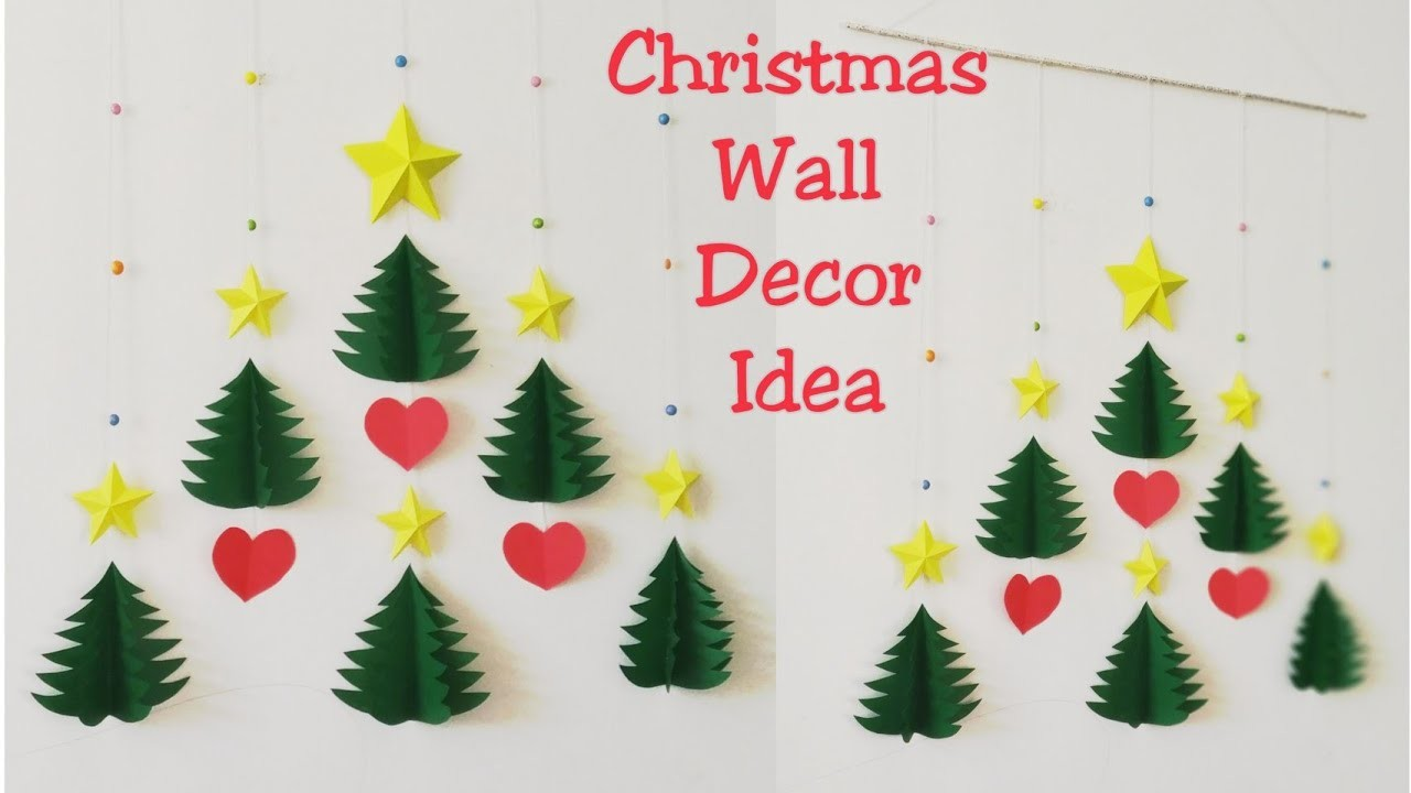 DIY Christmas Wall Decor Ideas.How to Make 3D Star & Christmas Tree Wall Hanging.DIY Wall Hanging