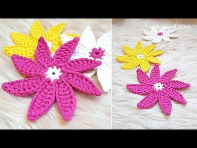 Diy Crochet  Flower EASY  How to crochet easy Flower Doily Coaster
