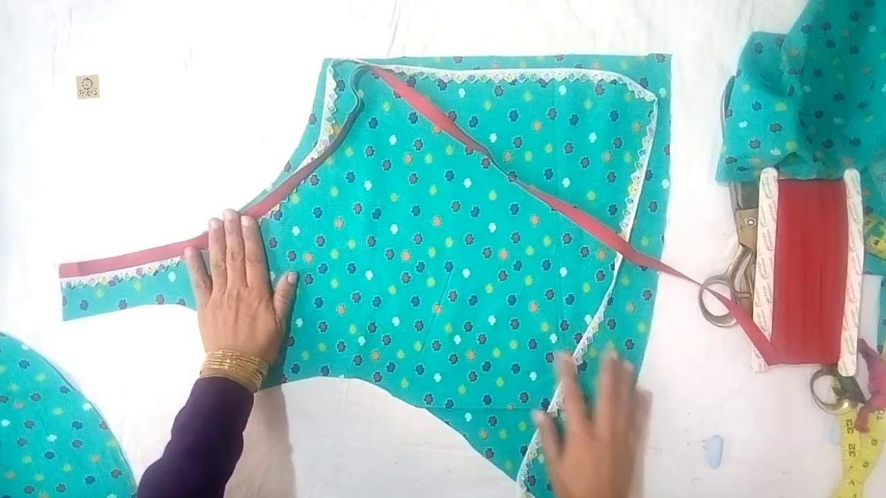Diy designer  angrakha shirt a line shirt cutting and stitching full tutorial