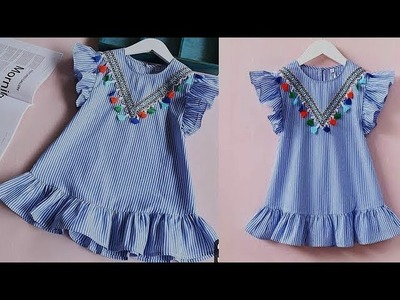 DIY Designer Ruffled Baby Frock Cutting And Stitching Tutorial
