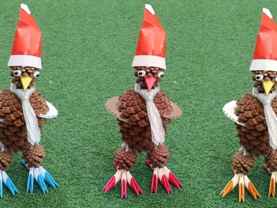 DIY Eagle - How to make a cute eagle from Pine Cones and paper