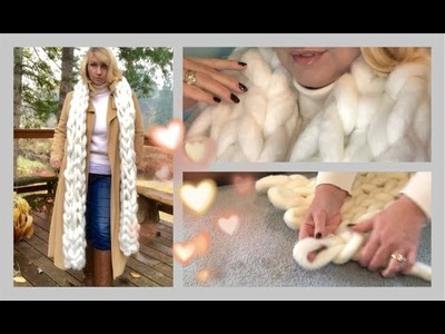 •DIY HOLIDAY GIFT ~ EASY CHUNKY KNIT SCARF TUTORIAL • NO TOOLS •