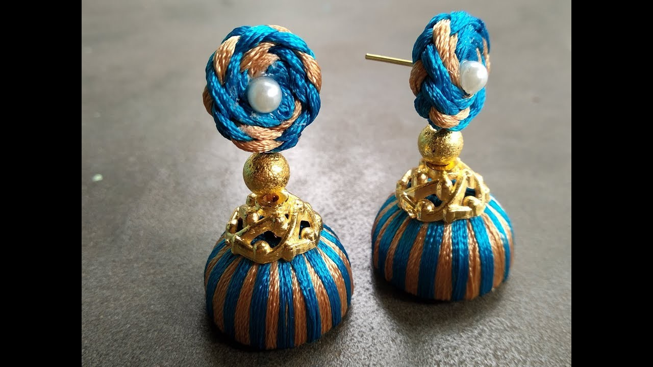 Diy New Design Unique Style Earrings Making Silk Thread Jhumka