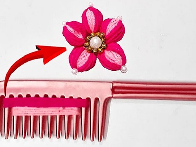 Easy Woolen Flowers with hair Comb step by step | DIY- Handmade woolen thread flower making idea