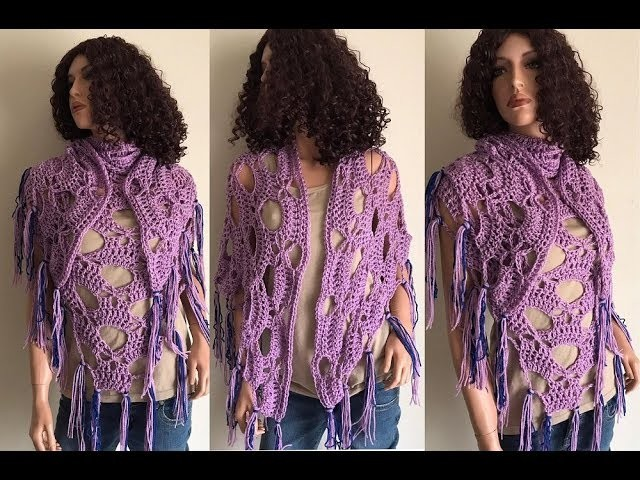 How to Crochet a Triangle Shawl Pattern #783│by ThePatternFamily