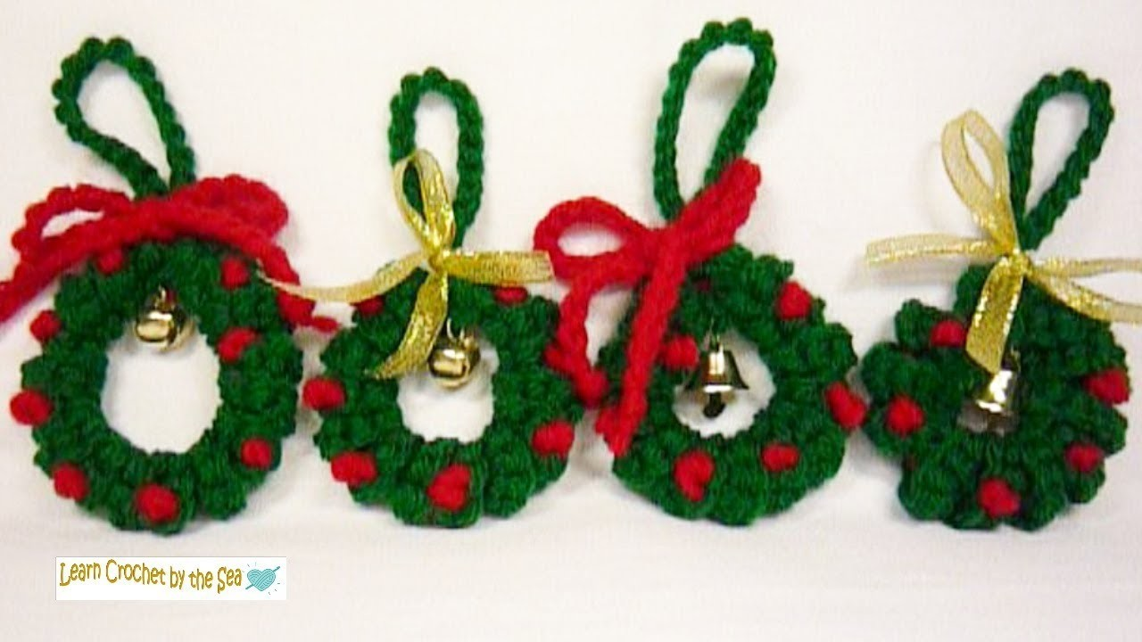 "How To Crochet Cute Little Christmas Wreath Ornaments! FREE pattern by clicking ""Show More"" below"