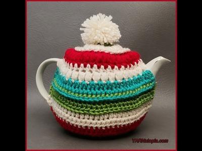 How to Crochet Tutorial: DIY Festive Teapot Cozy by YARNutopia