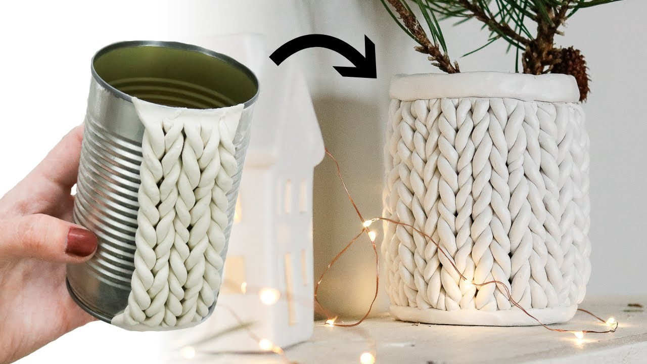 How to make a Chunky Knit Planter from a Tin Can | DIY