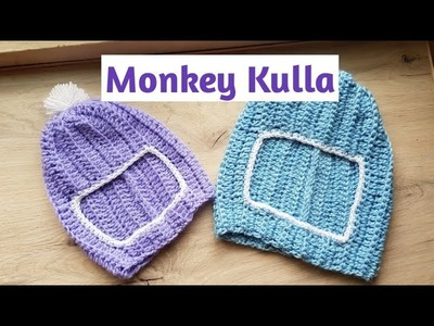 Monkey Kulla.Indian style Kulla.Hat.DIY Crochet Monkey Cap.Ribbed Stitch Crochet hat tamil.Neidhal
