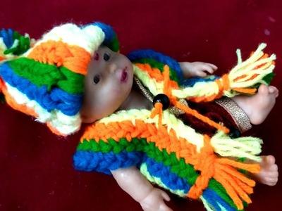 No crochet No knitting (बिना क्रोसिया बिना सालाई) kanhaji ki Woollen jacket very easy 8no राधे राधे।