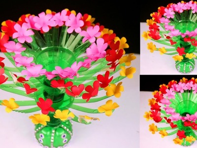 Plastic Bottle and Paper Flower Showpiece || Easy DIY Home Decor Crafts