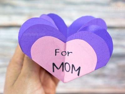 3D HEART CARD for MOM | Mother's Day Card | Craft for Kids
