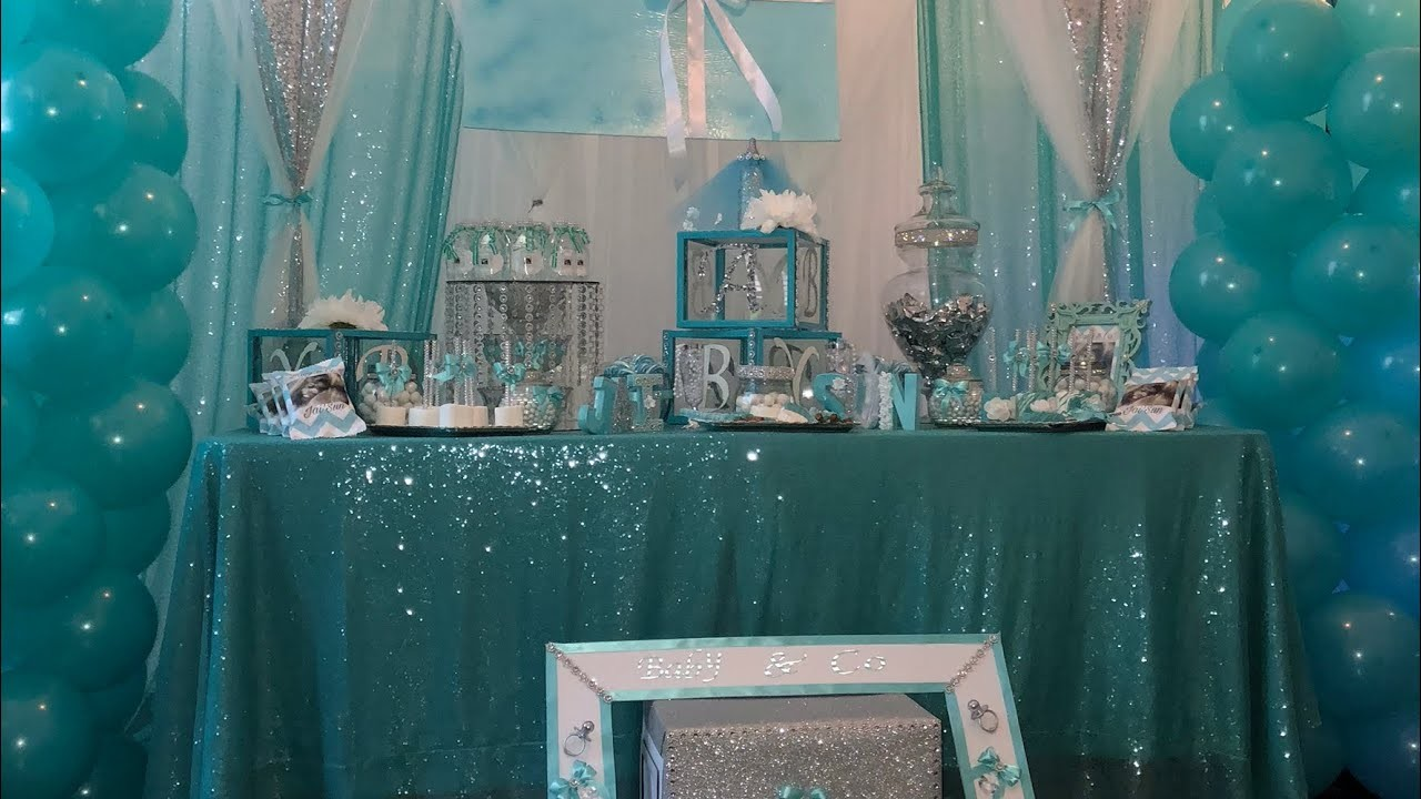 Babyshower Centerpiece. Dollar Tree picture frames.Tiffany & Co theme Candy Table.Dollar tree DIY