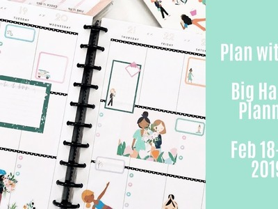 BIG Happy Planner Plan with Me Feb 18-24, 2019 - New Squad Life Sticker Book