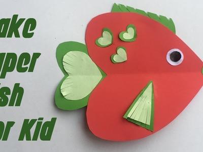 Craft paper heart Fish for kids | Papierfisch