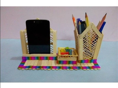 DIY Pen Stand, Mobile Phone Holder by Ice cream stick | Ice cream stick craft | Popsicle stick craft