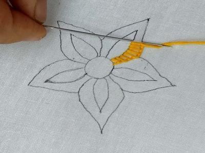 Fantasy Flower design | button hole | brazilian stitch | hand embroidery.
