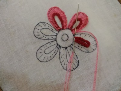 Hand Embroidery- Flower Stitch,Easy Flower Embroidery,Buttonhole Stitch Flower,